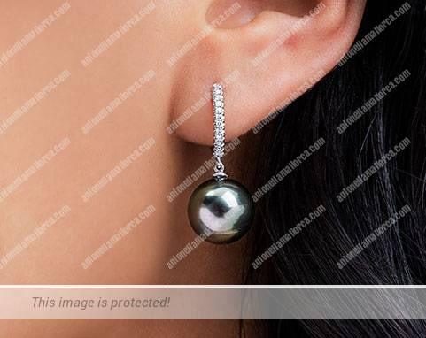14K White Gold Tahitian Cultured Pearl and Diamond Drop Earrings