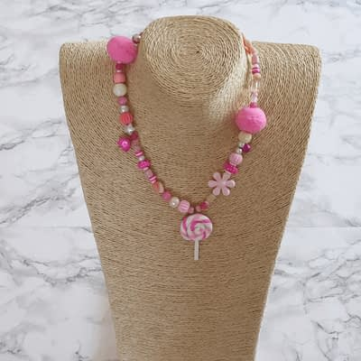 Pom Pom Lollipop Necklace