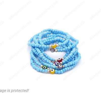 8 Stacked Turquoise Color Evil Eyes Bracelets