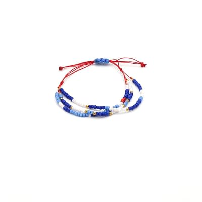 Skinny Multi-Color Seed Beads 3 Row Bracelet